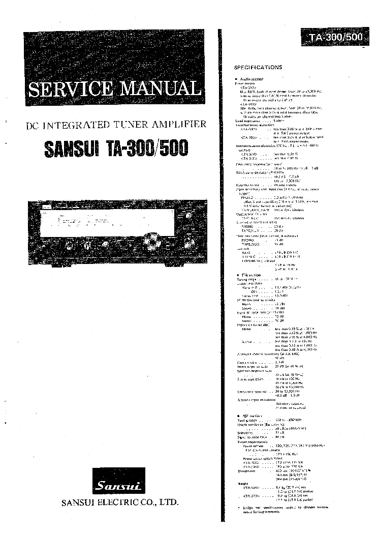 SANSUI TA-300 TA-500 RECEIVER Service Manual download