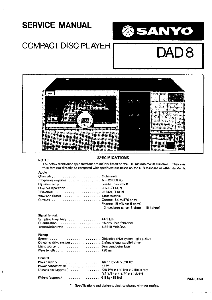 SANYO DAD8 SM Service Manual download, schematics, eeprom