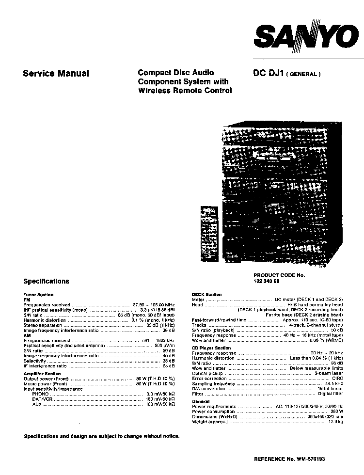 SANYO DC-DJ1 SM Service Manual download, schematics