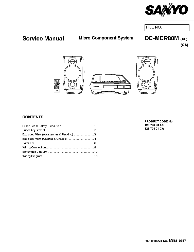 SANYO DC-MCR80M Service Manual download, schematics