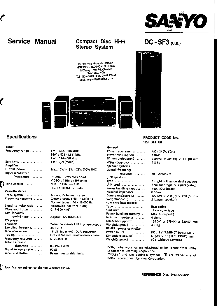 SANYO DC-SF3 SM Service Manual download, schematics