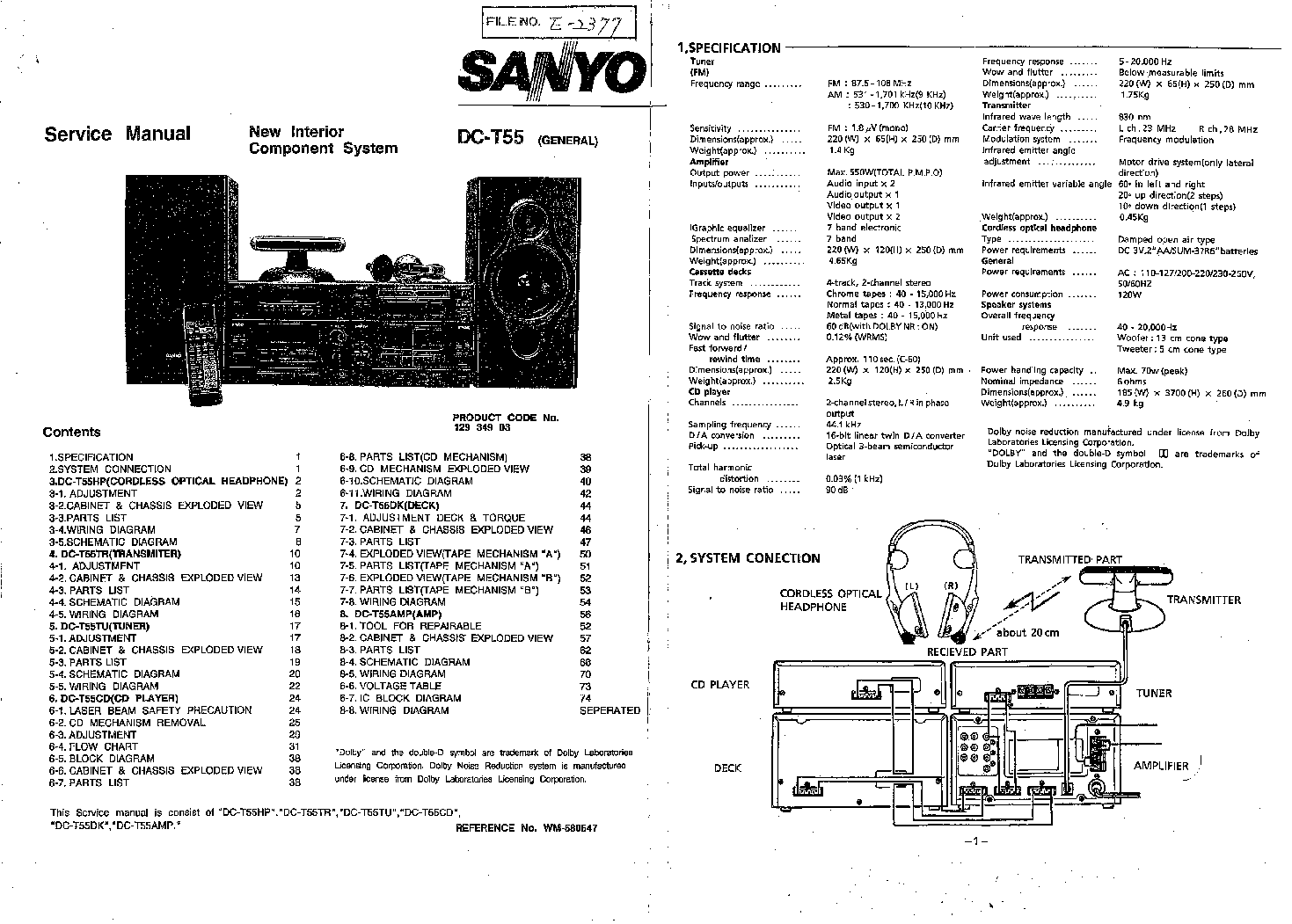 SANYO DC-T55 SM Service Manual download, schematics