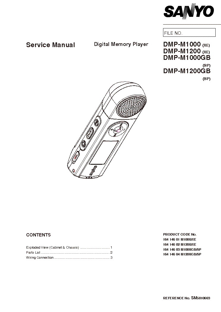SANYO DMP-M 1000 1200 Service Manual free download