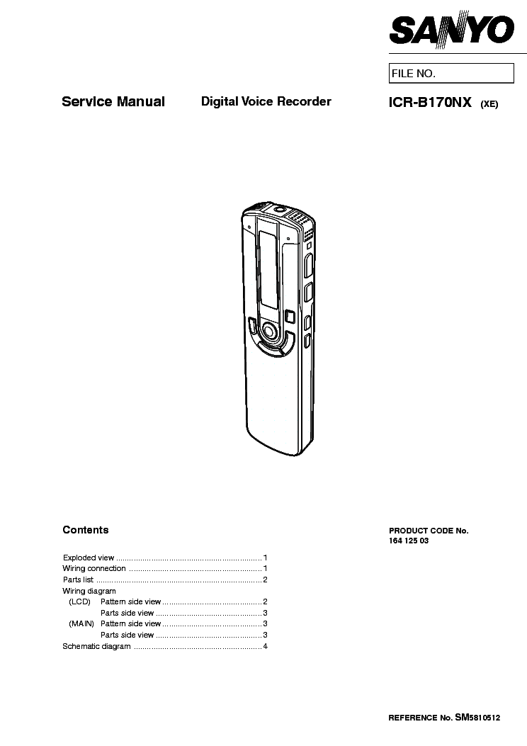 SANYO ICR-B170 SM Service Manual download, schematics