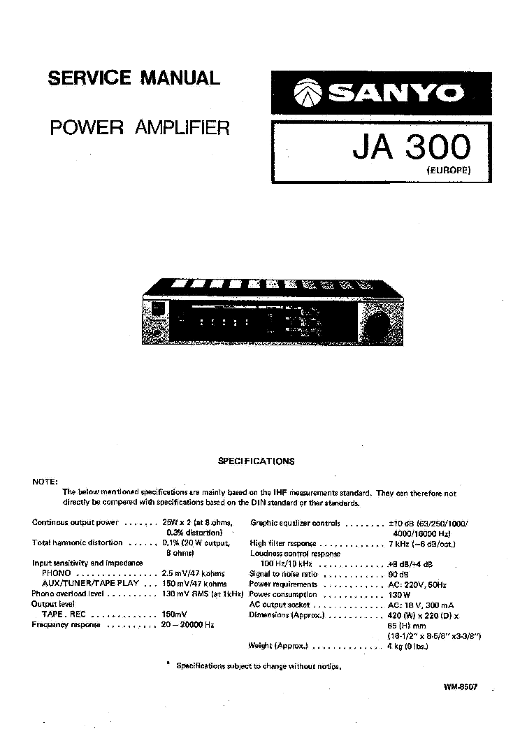 SANYO JA-300 Service Manual download, schematics, eeprom, repair info for electronics experts