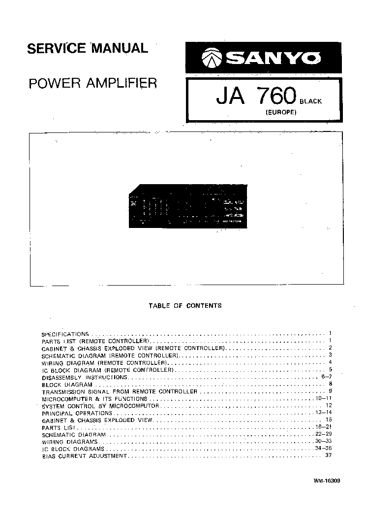 SANYO JA-760 Service Manual free download, schematics