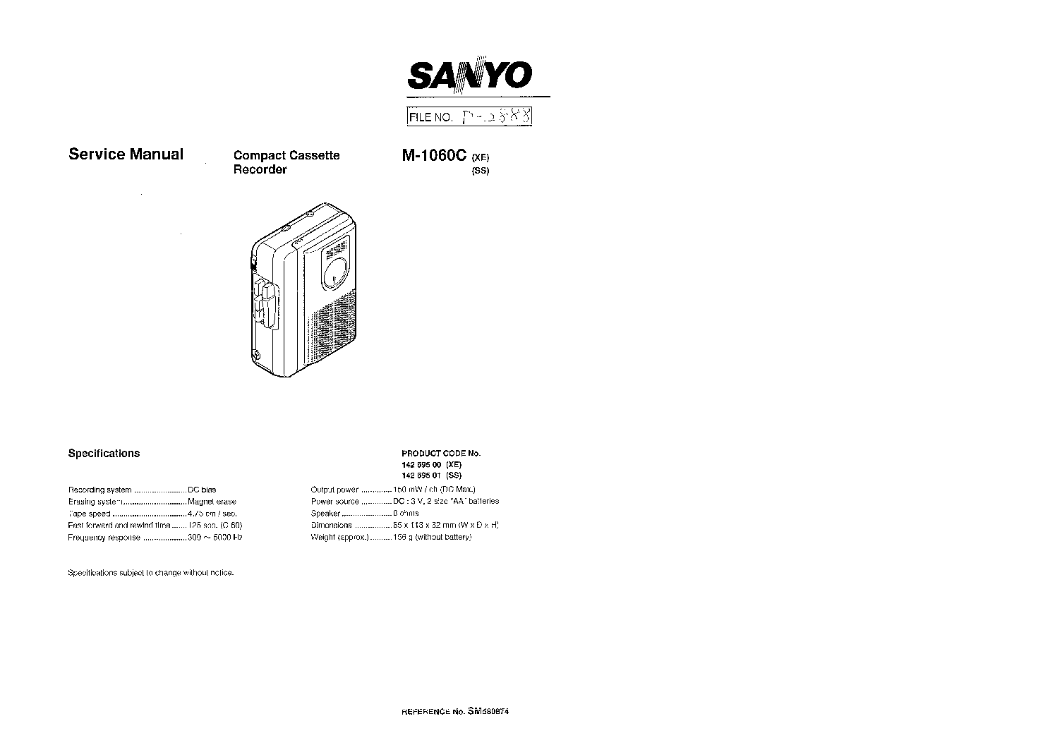 SANYO DC-MM5000 SM Service Manual download, schematics
