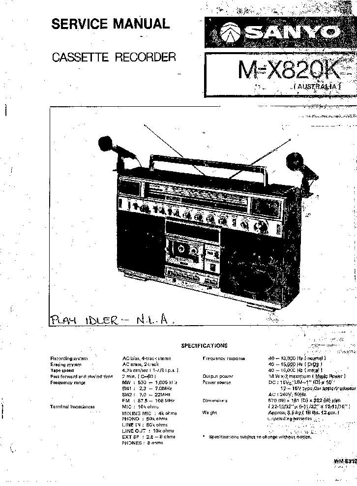 SANYO M-X820K RADIO CASSETTE RECORDER SM Service Manual