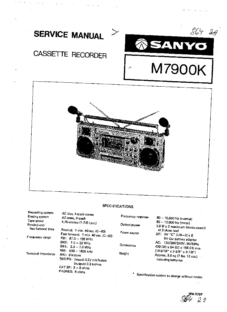 SANYO M7900K SM Service Manual download, schematics, eeprom, repair info for electronics experts