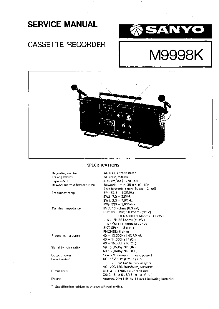 SANYO M9998K SM Service Manual download, schematics