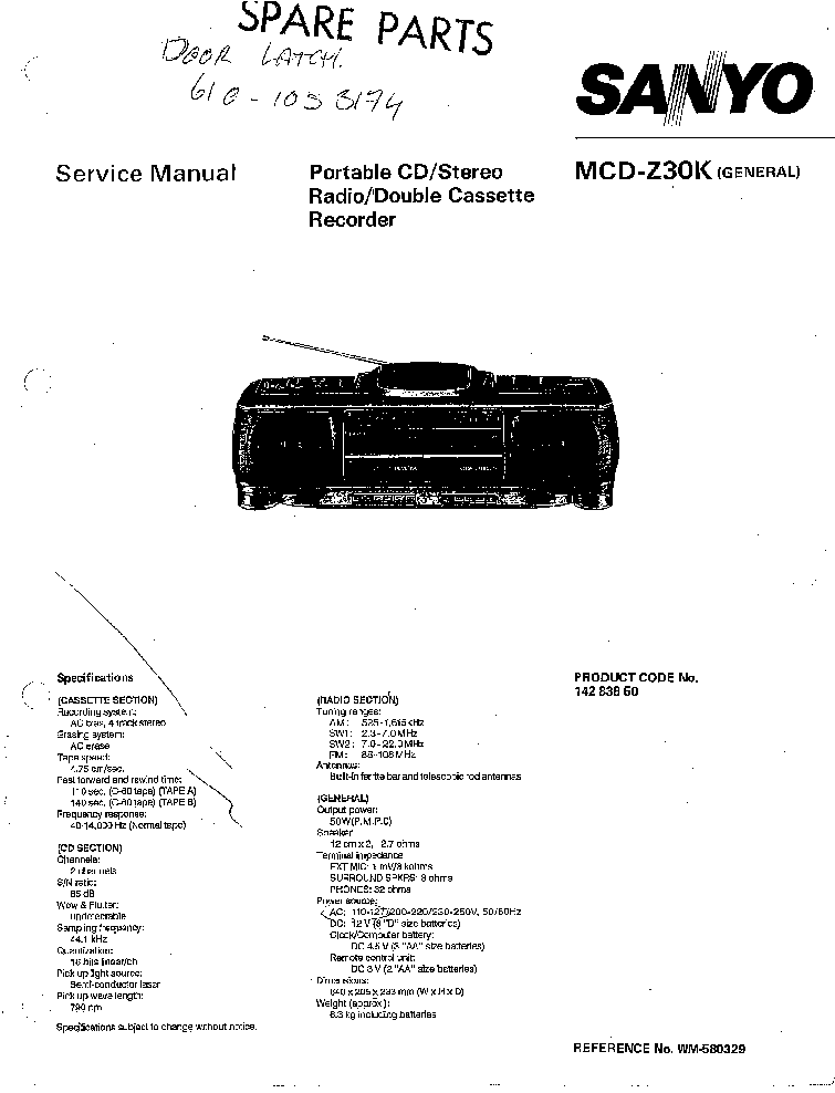 SANYO MCD-Z30K SM Service Manual download, schematics