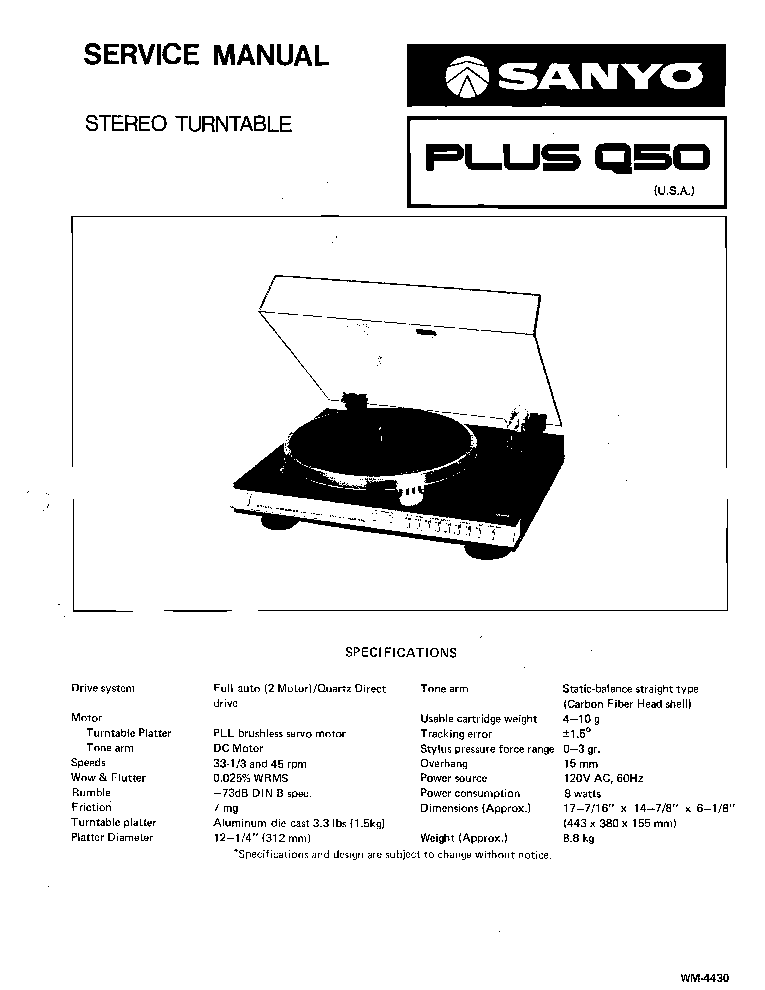 SANYO PLUS-Q50 TURNTABLE Service Manual download