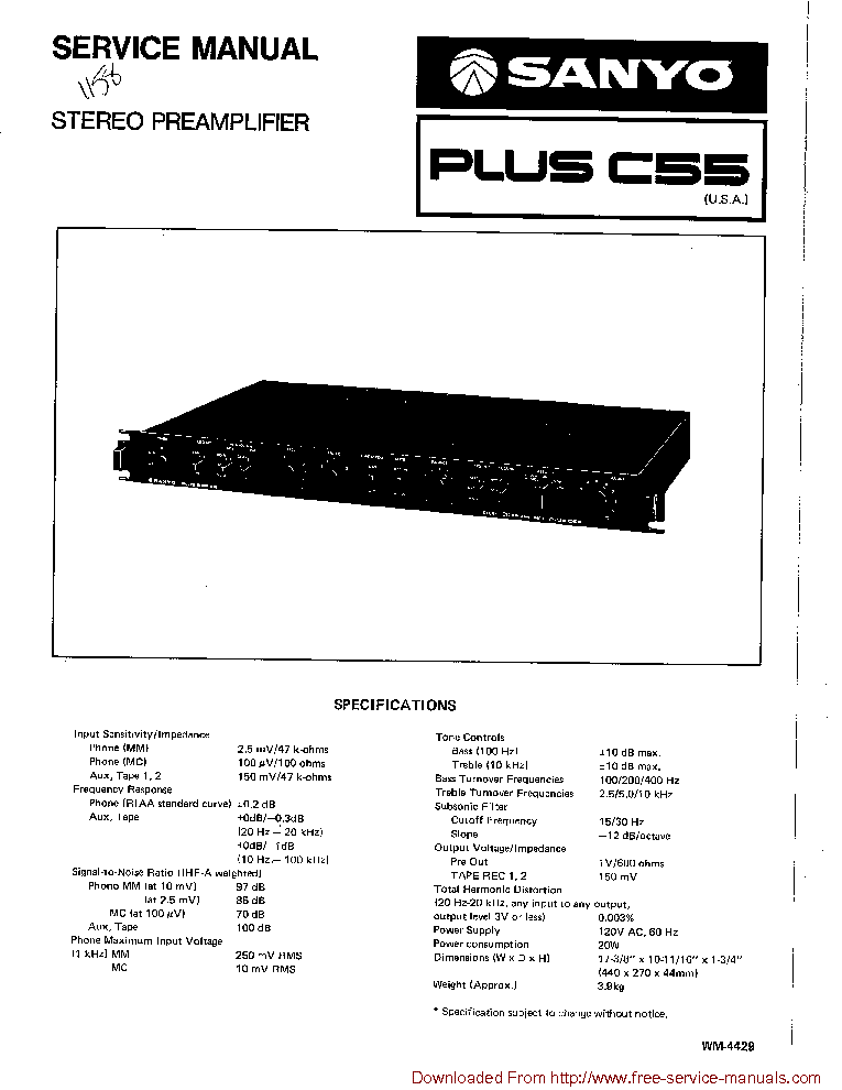 SANYO PLUS C55 Service Manual download, schematics, eeprom