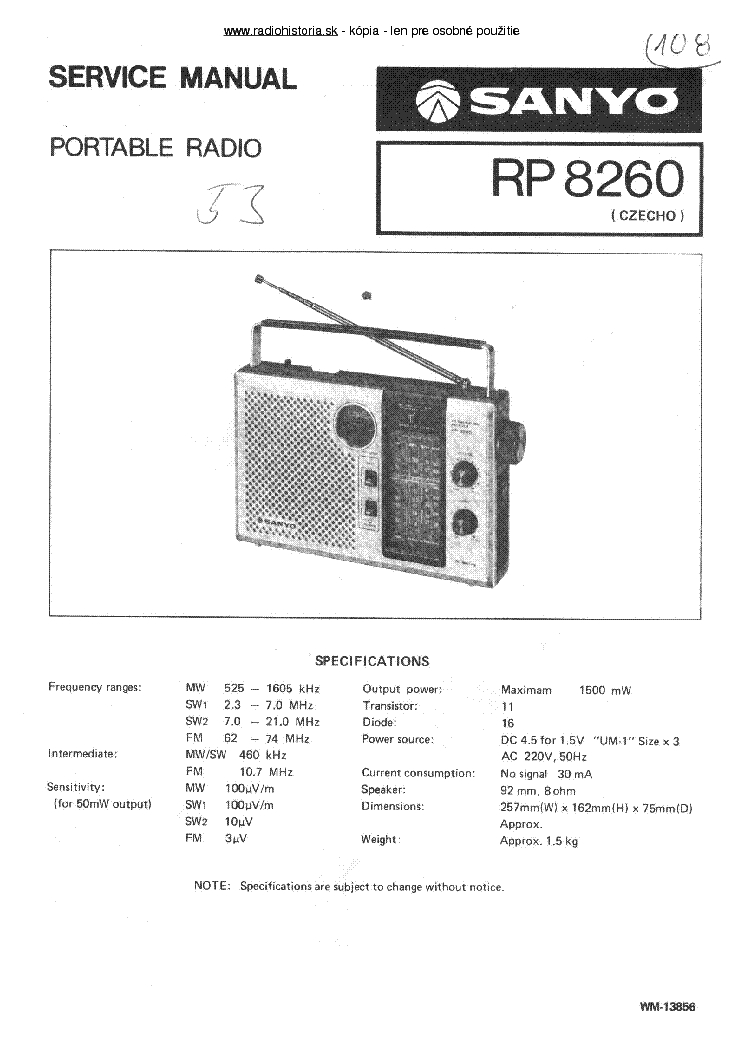 SANYO RP8260 Service Manual download, schematics, eeprom