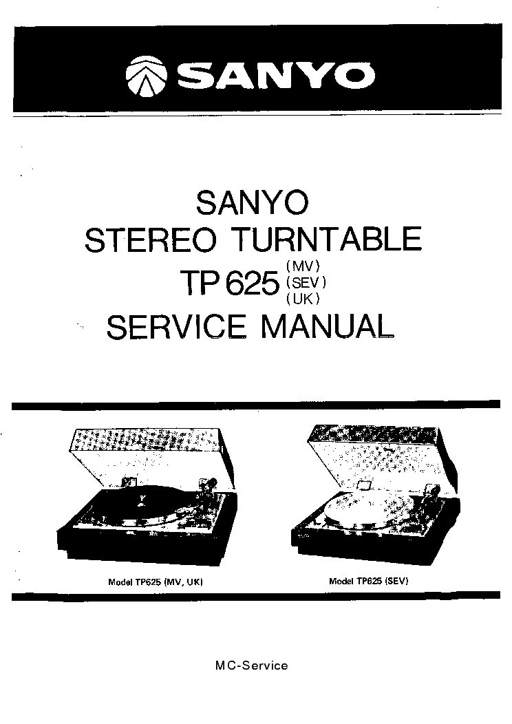SANYO TP625 TURNTABLE Service Manual download, schematics