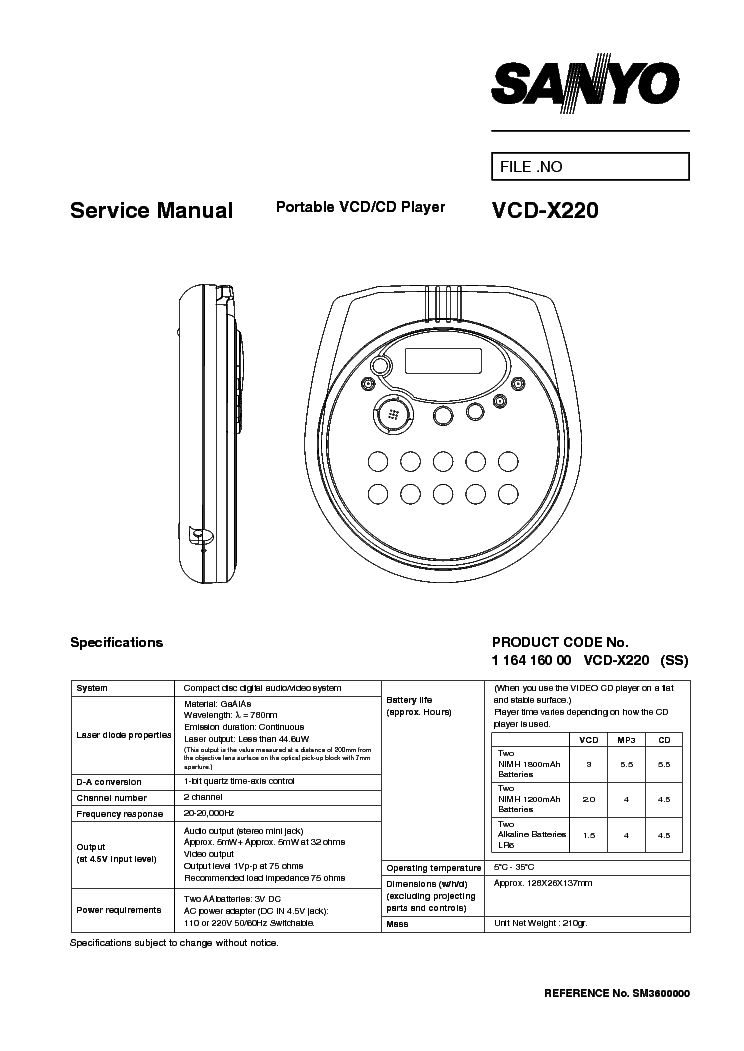 SANYO VCD-X220 SM Service Manual download, schematics