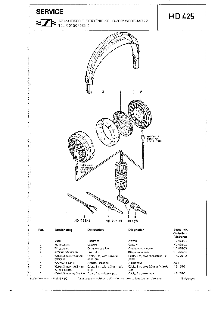 SENNHEISER HD-425 1982 SM Service Manual download