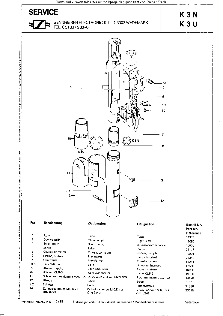 SENNHEISER VKS-203 SCH Service Manual download, schematics