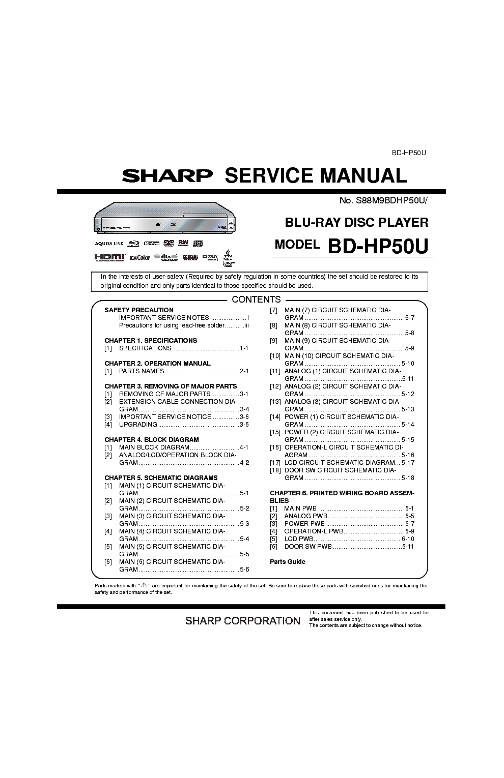 SHARP CD-E600 CD-E66 Service Manual download, schematics