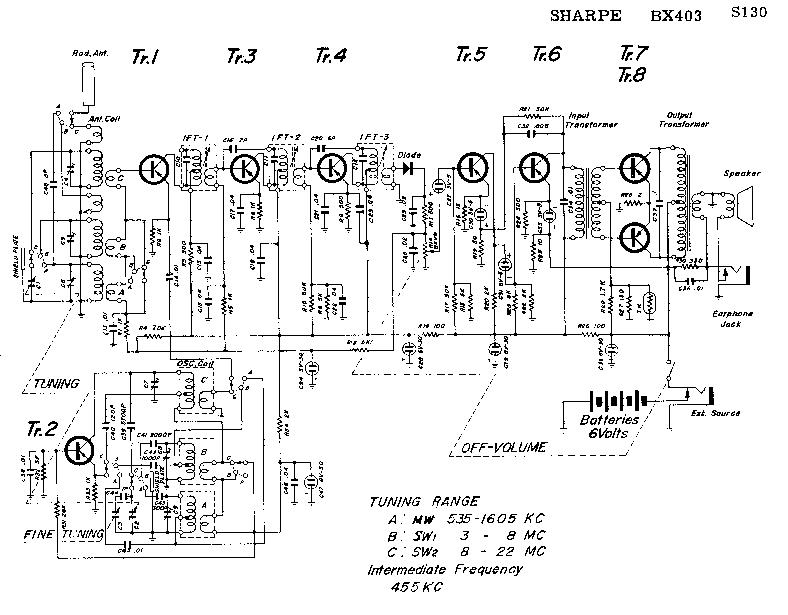 SHARP BX-403 PORTABLE 6V RADIO SM Service Manual download