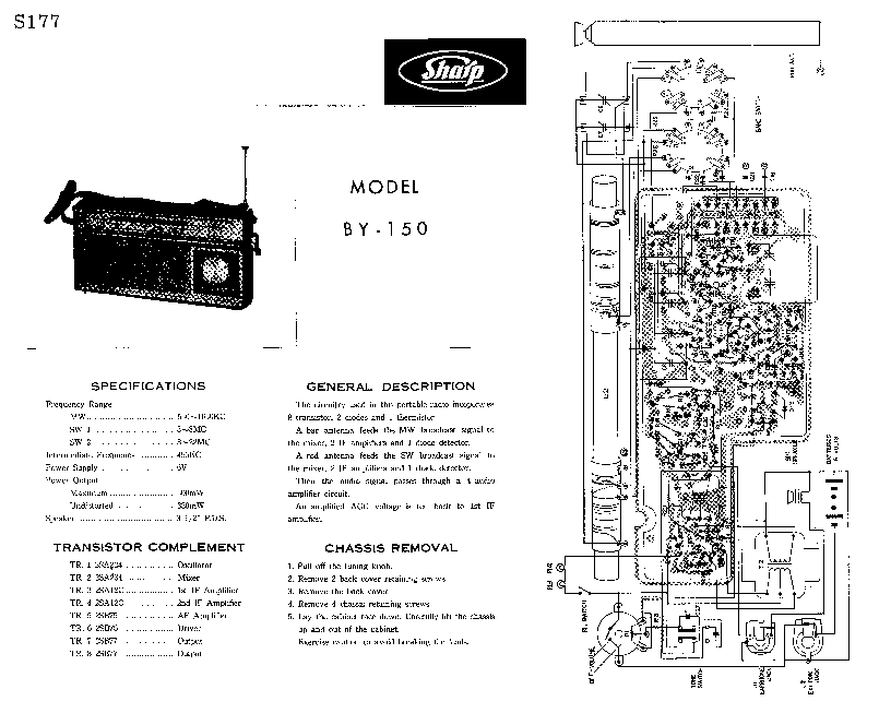SHARP BY-150 SM Service Manual download, schematics