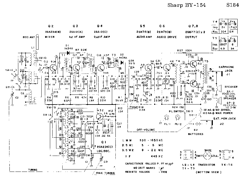 SHARP BY-154 SM Service Manual download, schematics