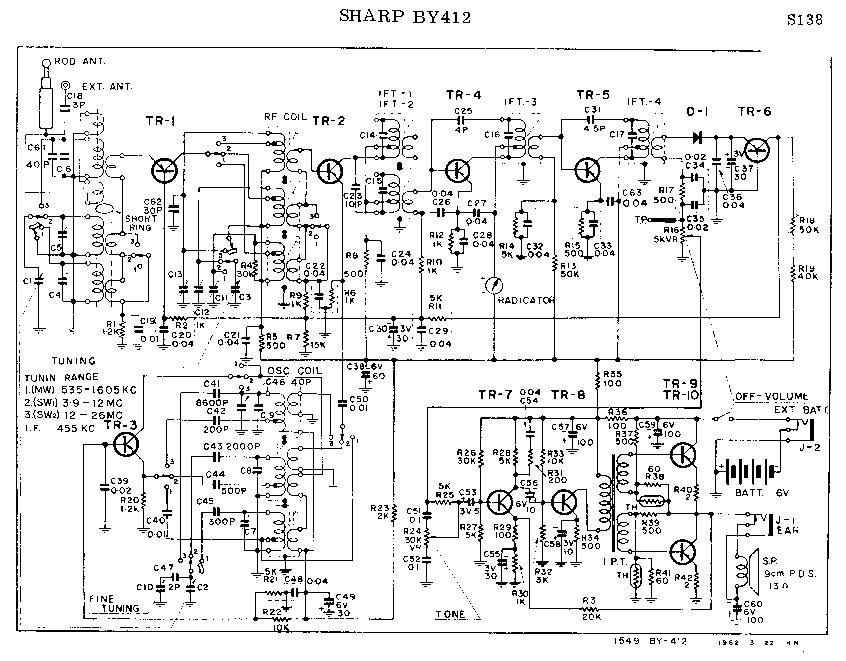 SHARP BY-412 SCH Service Manual download, schematics