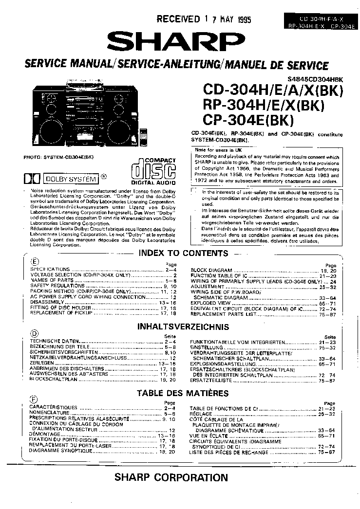 SHARP CD-304H RP-304H CP-304E Service Manual download