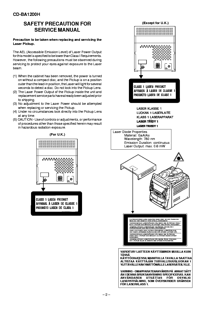 SHARP CD-BA1200H Service Manual download, schematics