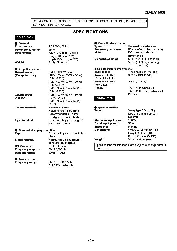 SHARP CD-BA1500H SM Service Manual download, schematics