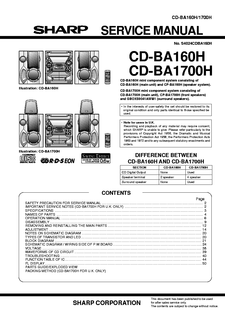 SHARP CD-BA160 1700-H Service Manual download, schematics