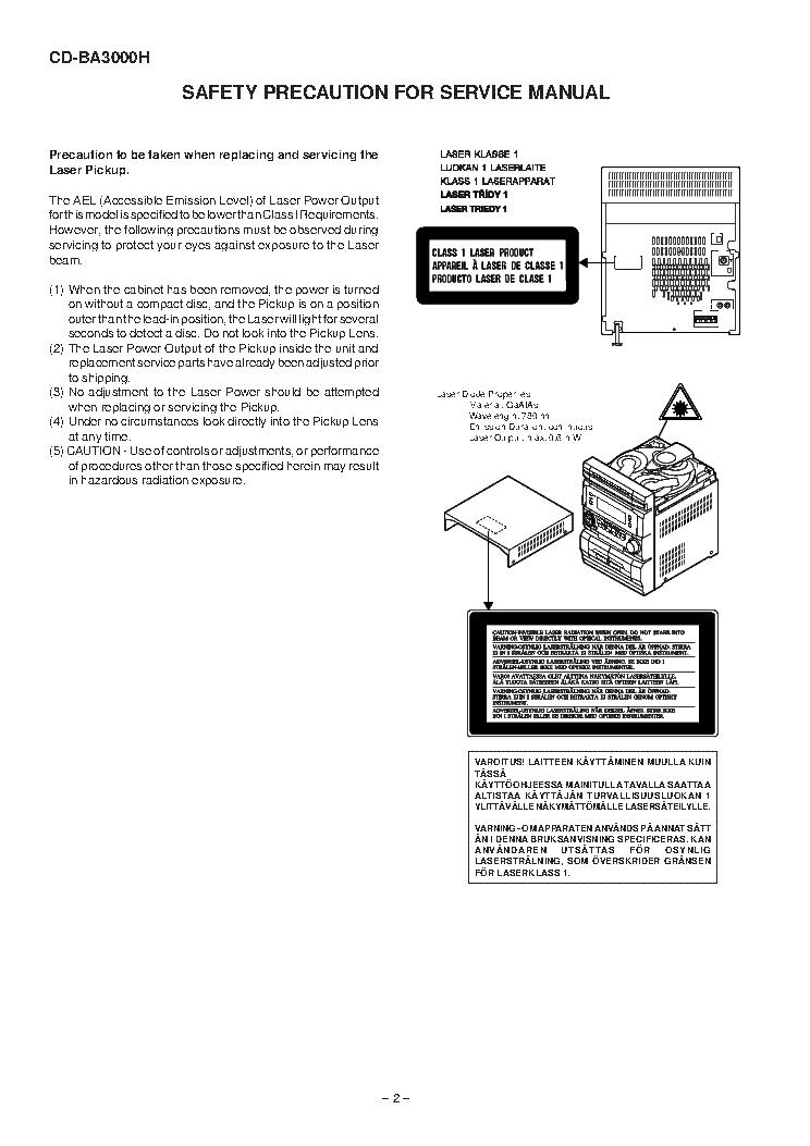 SHARP CD-BA3000H Service Manual download, schematics
