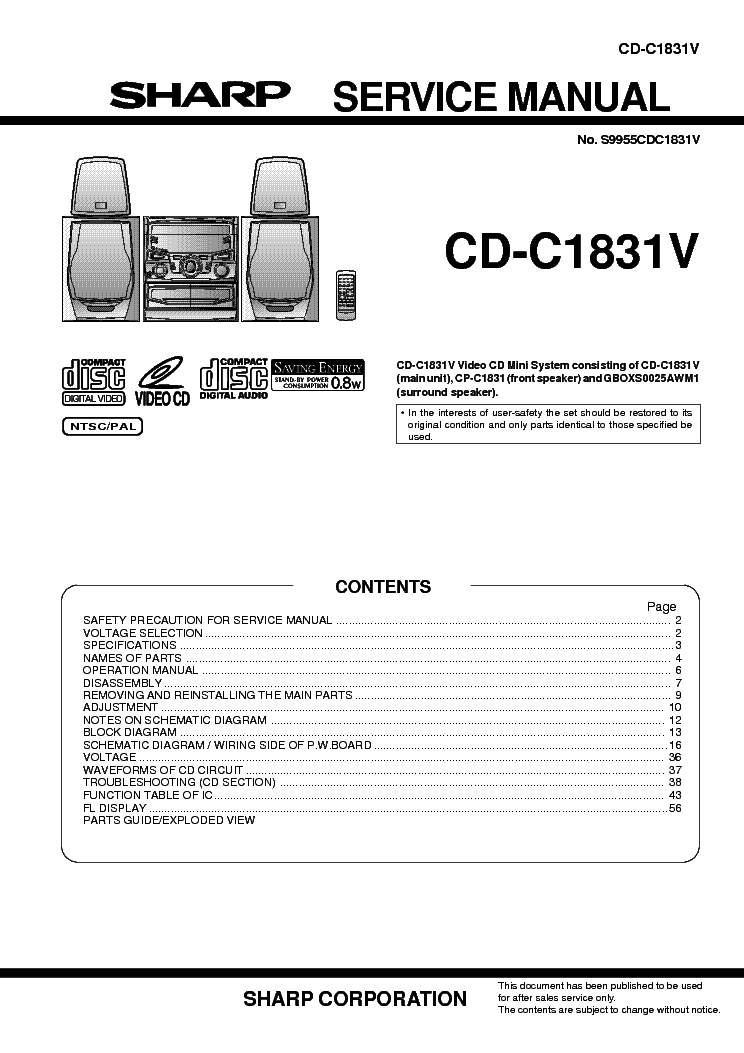 SHARP CD-C1831V SM Service Manual download, schematics
