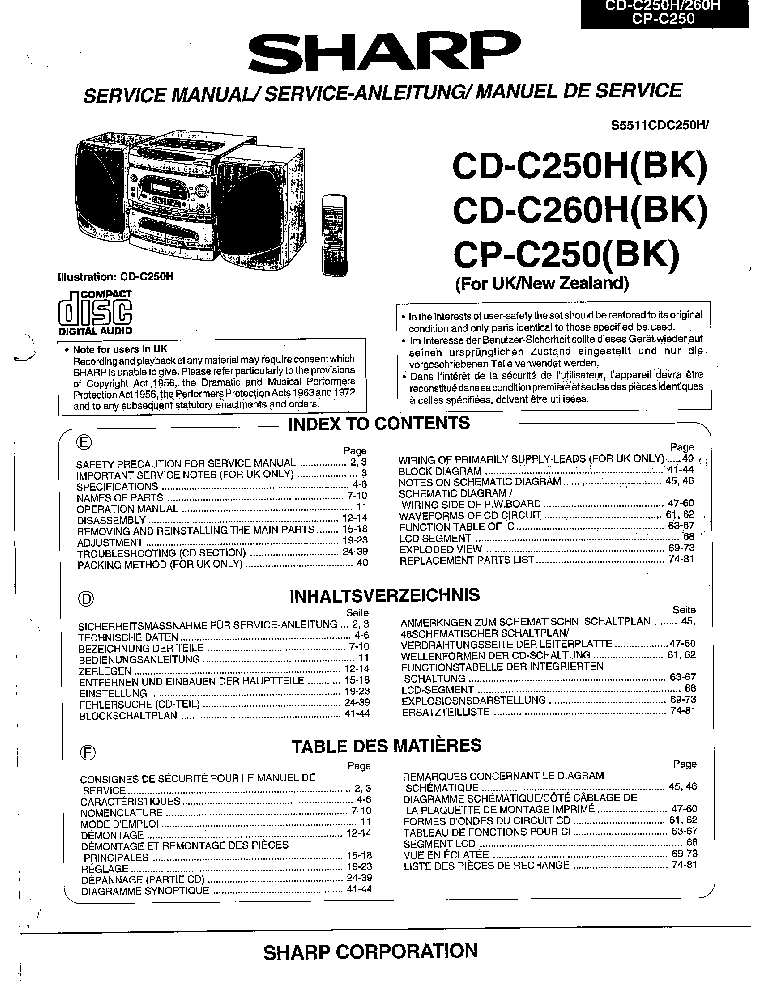 SHARP CD-E600 CD-E66 Service Manual free download