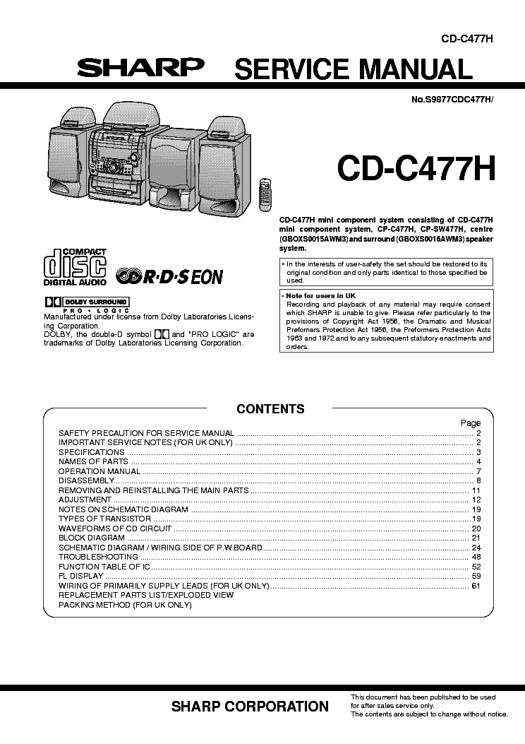 SHARP CD-C477H Service Manual free download, schematics