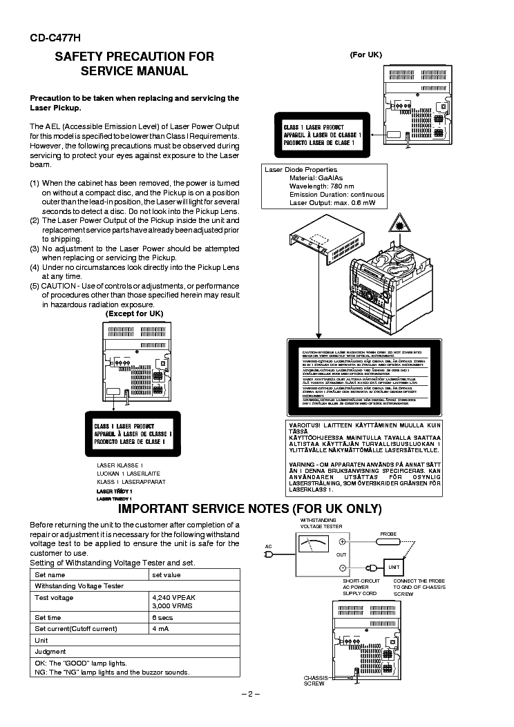 SHARP CD-C477H Service Manual download, schematics, eeprom