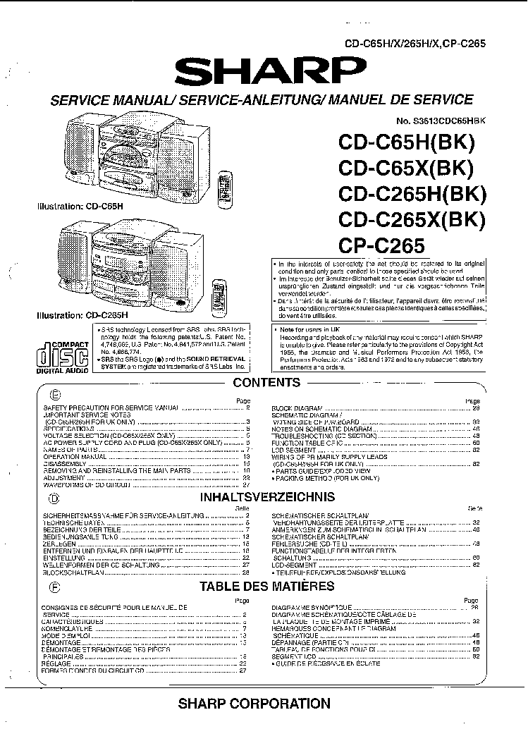 SHARP CD-C65X C265X Service Manual download, schematics