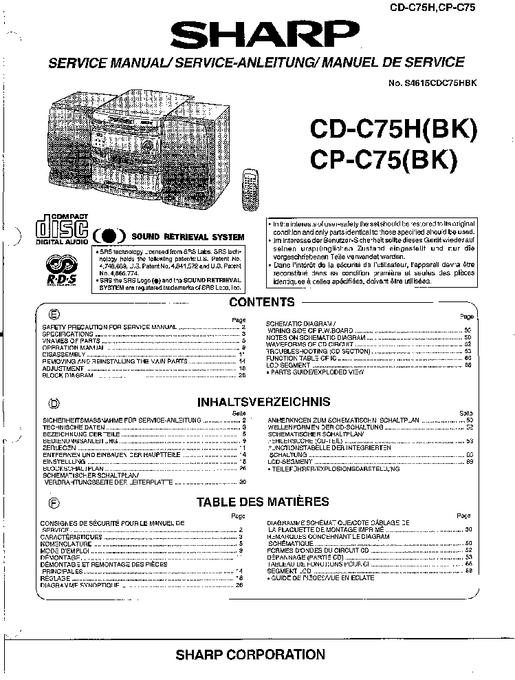 SHARP GF-700 SCH Service Manual download, schematics