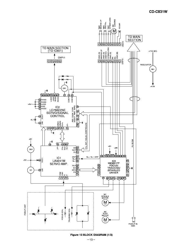 SHARP CD-C831W SCH Service Manual download, schematics