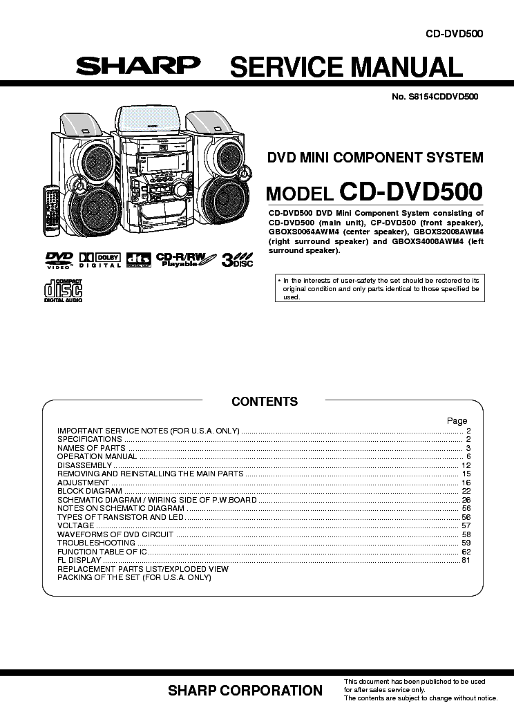 SHARP CD-DVD500 Service Manual download, schematics