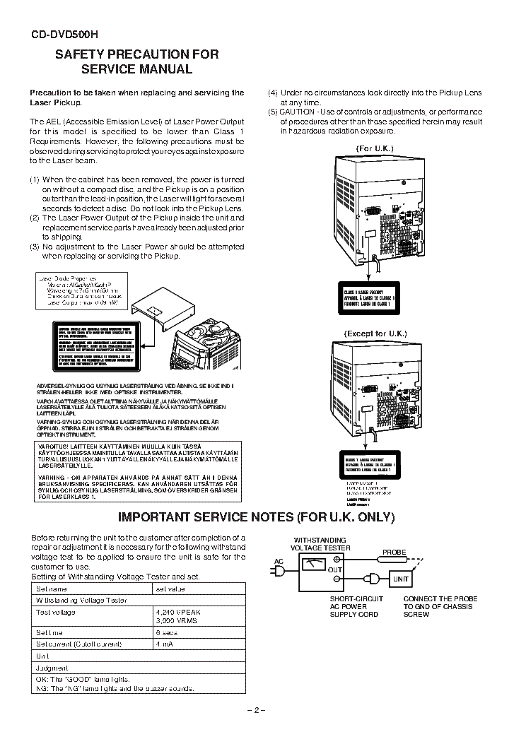 SHARP CD-DVD500H Service Manual download, schematics