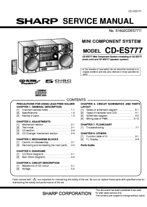 SHARP CDES777 Service Manual download, schematics, eeprom