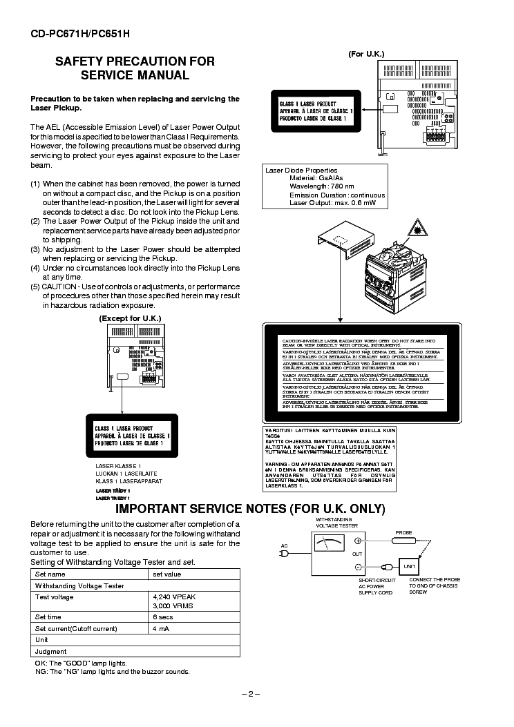 SHARP CD-PC671H PC651H Service Manual download, schematics