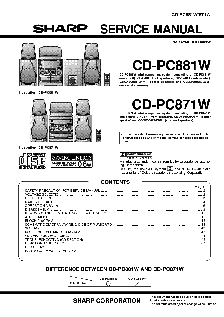 SHARP CD-PC871W CD-PC881W MINI COMPONENT SYSTEM Service