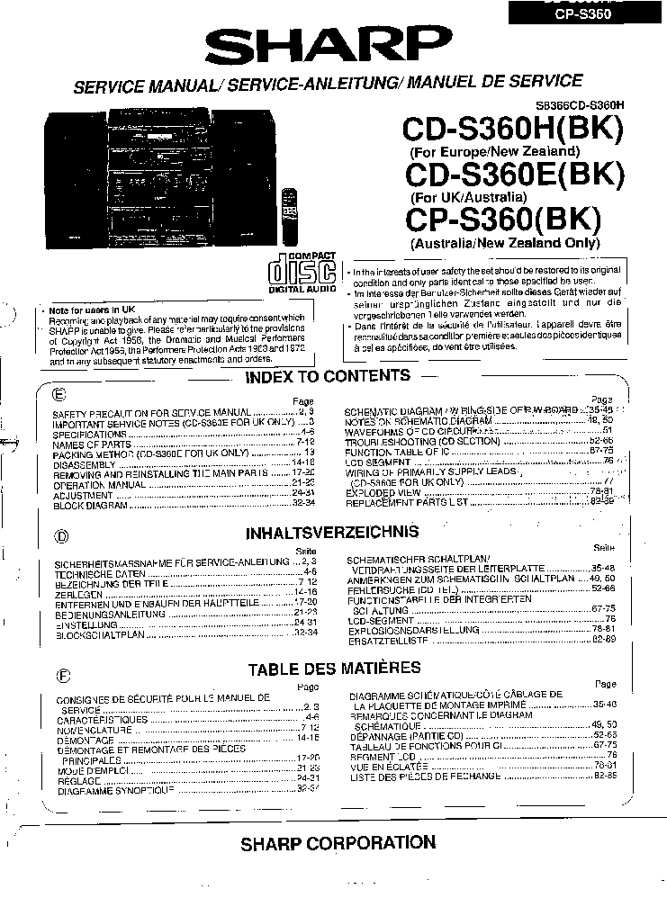 SHARP MD-M3 MD-M1 Service Manual free download, schematics