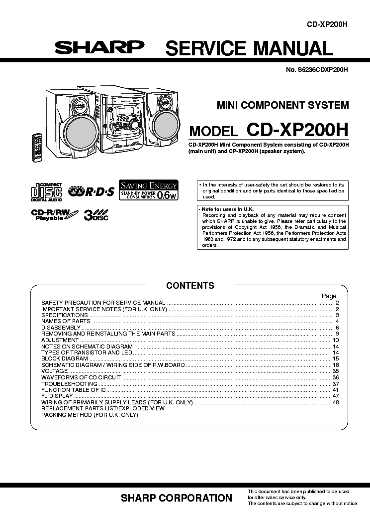 SHARP 939 Service Manual download, schematics, eeprom