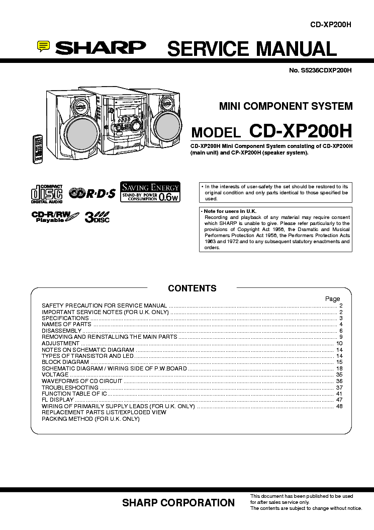 SHARP XL-DH259P Service Manual download, schematics