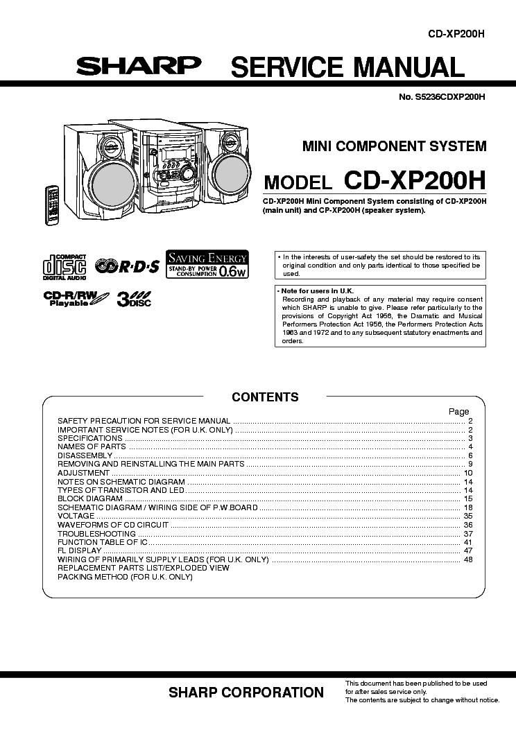 SHARP ST-5200H ST-5200HB OPTONICA SCH Service Manual