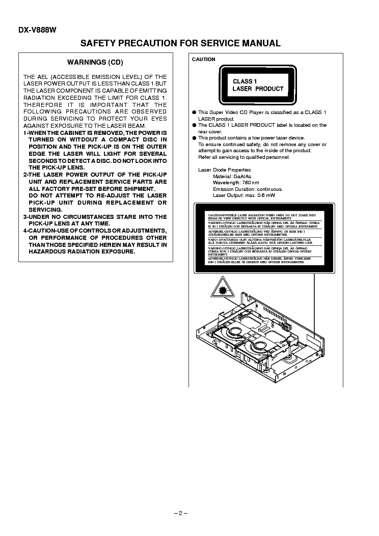 SHARP DXV-888-W-VCD Service Manual download, schematics