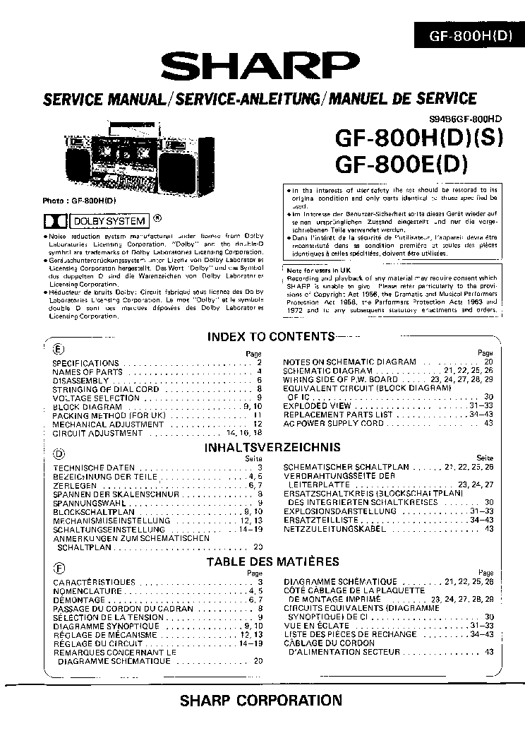 SHARP GF-800 SM Service Manual download, schematics
